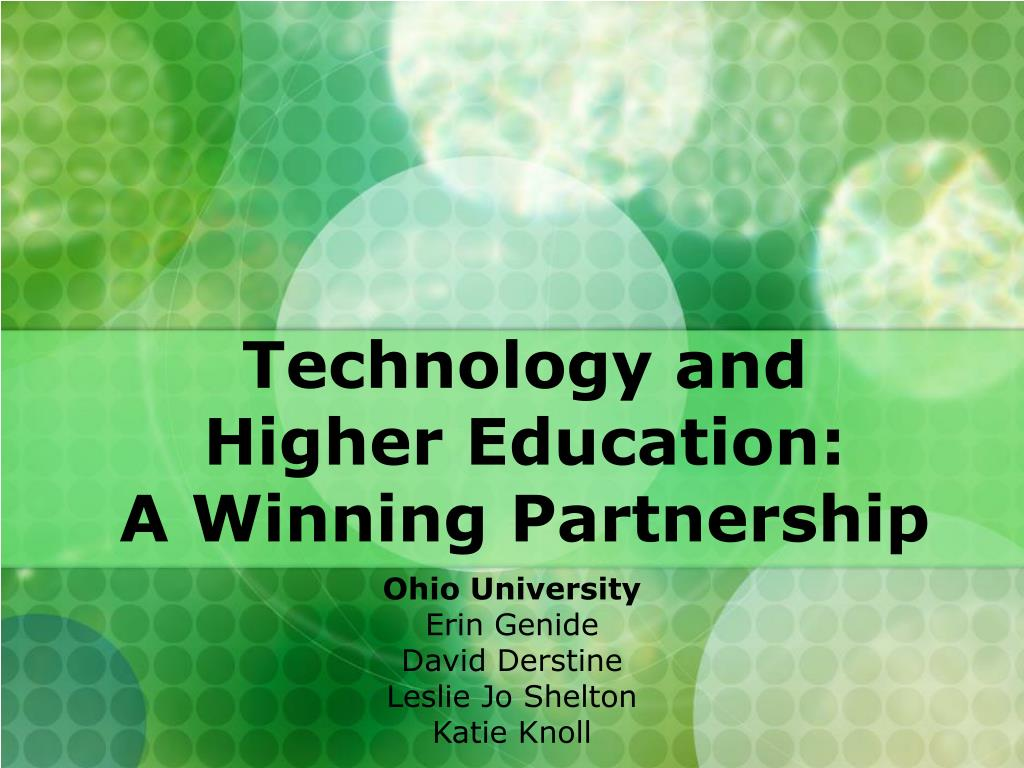 technology and higher education a winning partnership l.