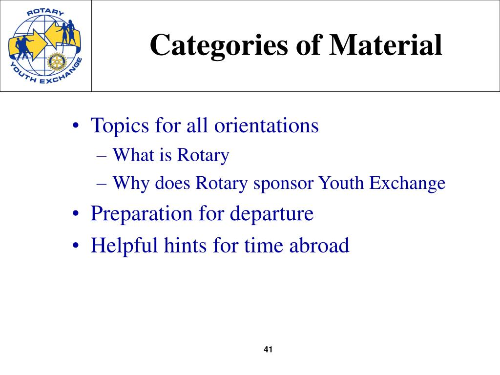 Categories of Material