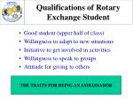 qualifications of rotary exchange student35