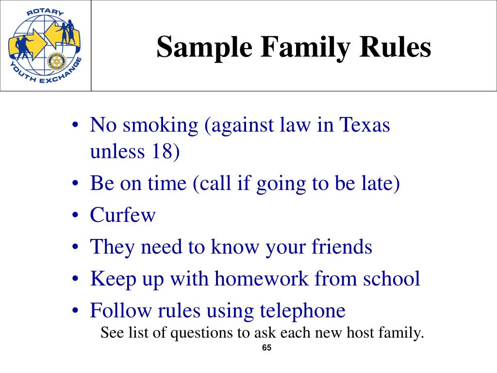 Sample Family Rules