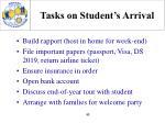 tasks on student s arrival
