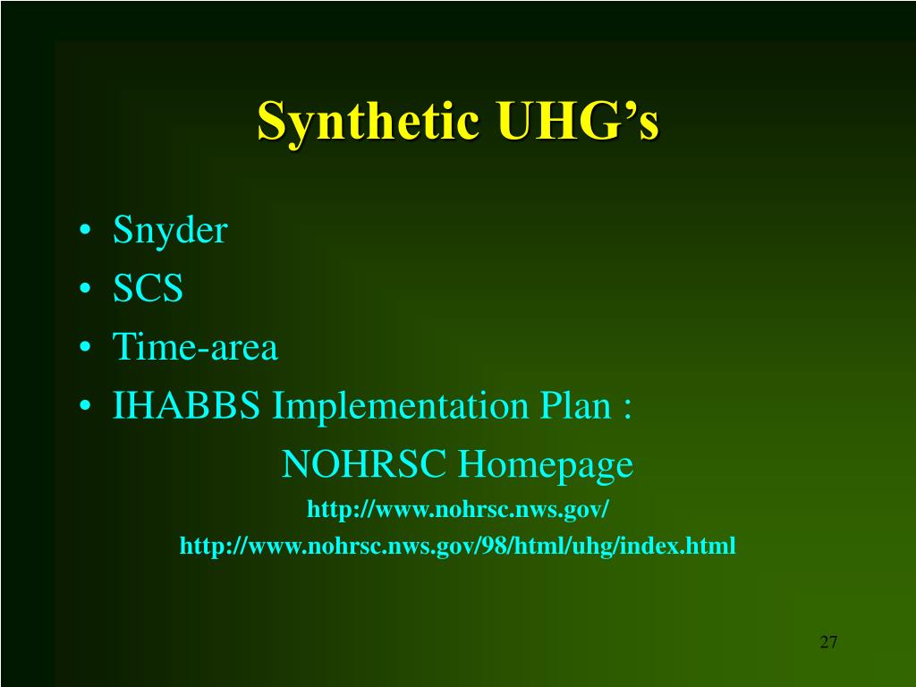 Synthetic UHG's