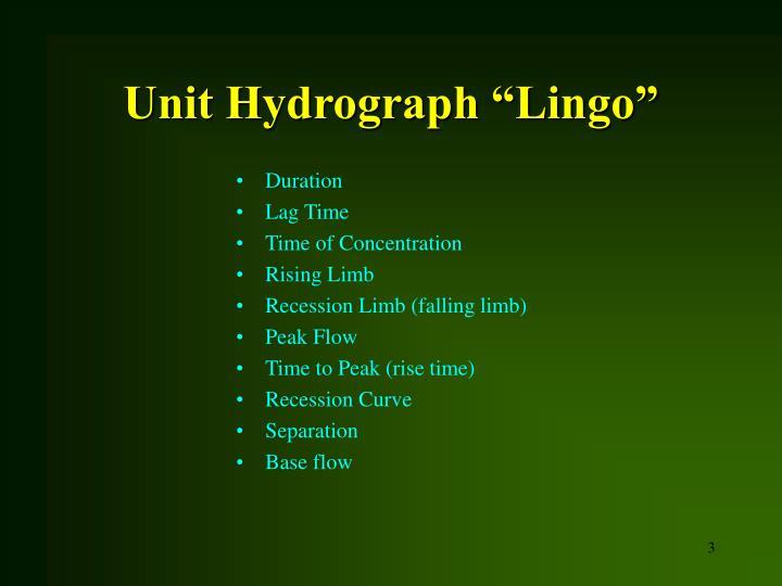 Unit hydrograph lingo