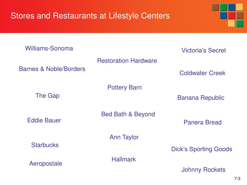 Stores and Restaurants at Lifestyle Centers