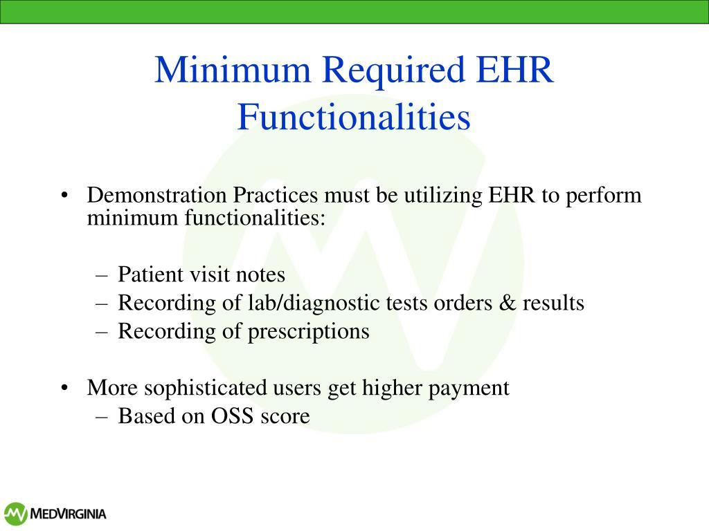 Minimum Required EHR Functionalities