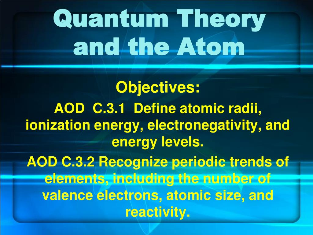 quantum theory and the atom l.