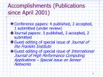 accomplishments publications since april 2001