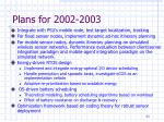 plans for 2002 2003