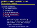 washington circle continuity of care performance measure