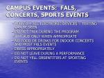 campus events fals concerts sports events