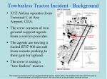 towbarless tractor incident background