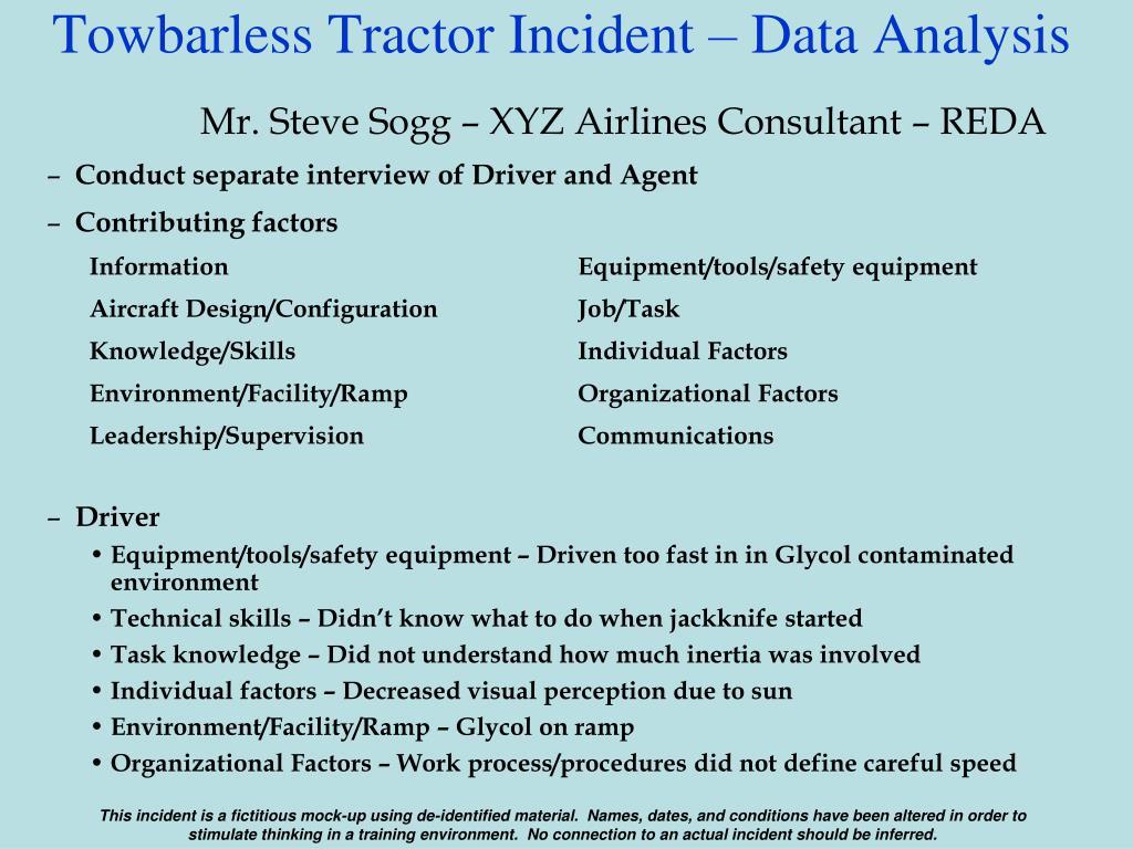 Towbarless Tractor Incident – Data Analysis