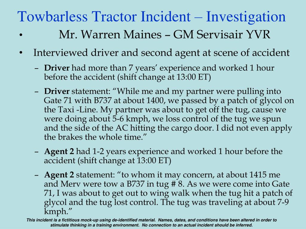 Towbarless Tractor Incident – Investigation