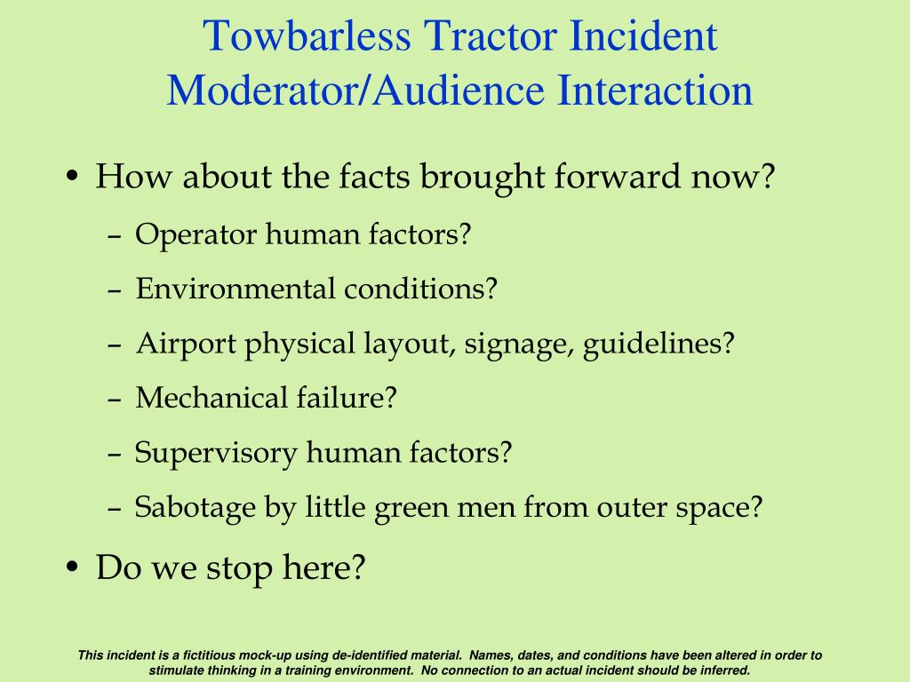 Towbarless Tractor Incident