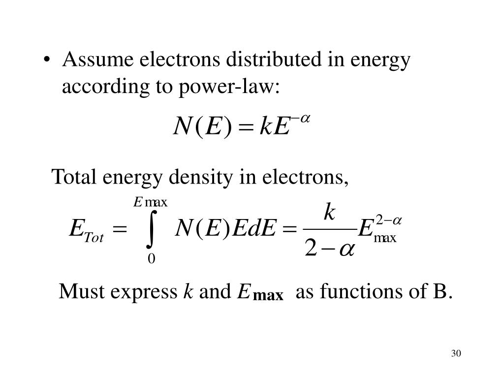 Assume electrons distributed in energy according to power-law: