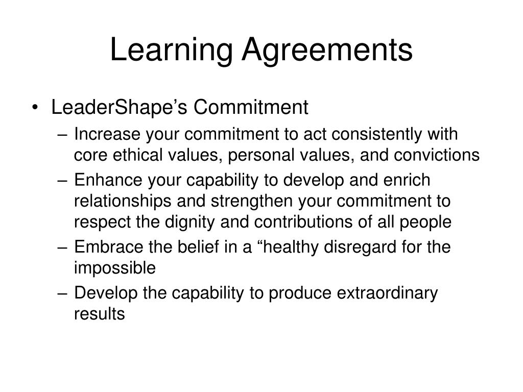 Learning Agreements
