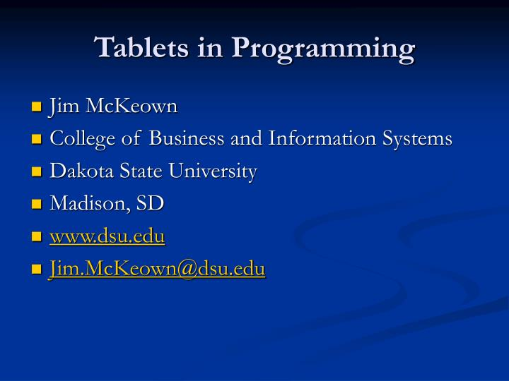 Tablets in programming