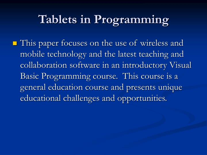 Tablets in programming3