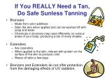 if you really need a tan do safe sunless tanning