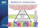 imo gbs tier iii verification criteria