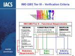imo gbs tier iii verification criteria15