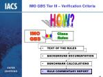 imo gbs tier iii verification criteria16