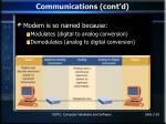 communications cont d