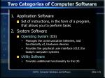 two categories of computer software