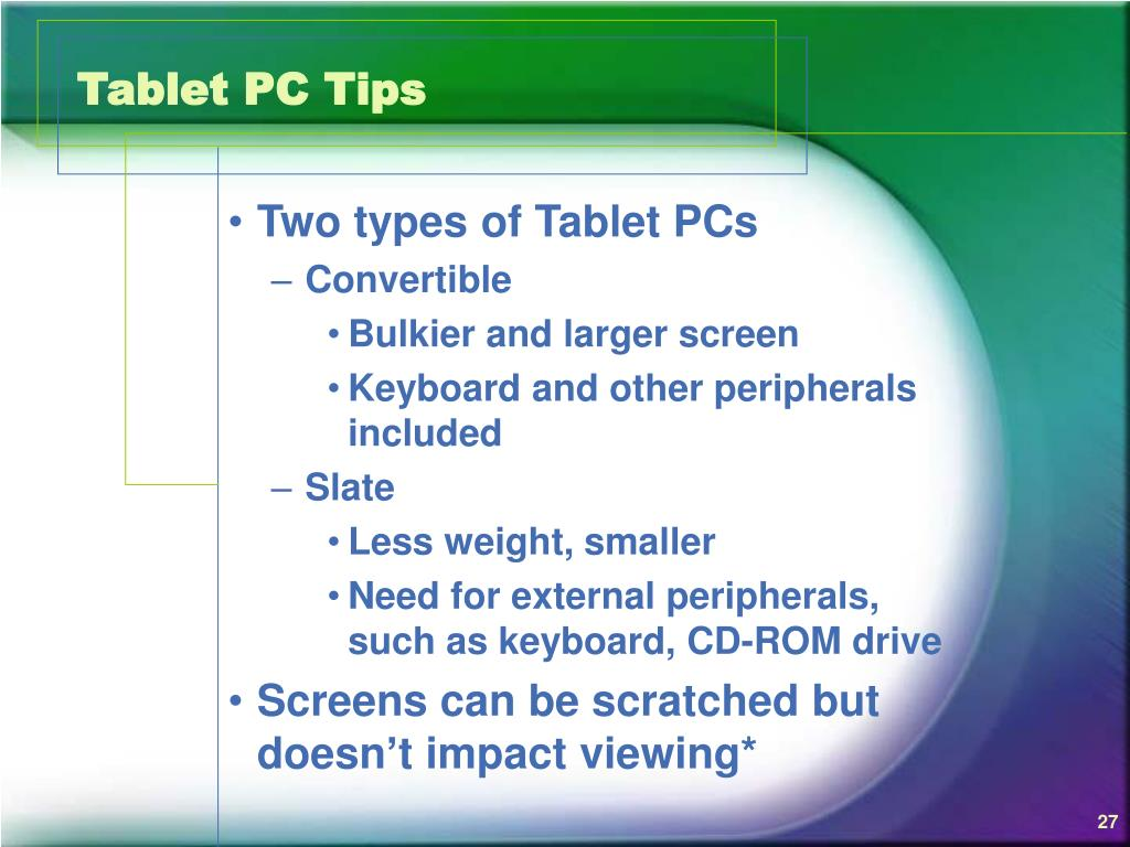 Tablet PC Tips