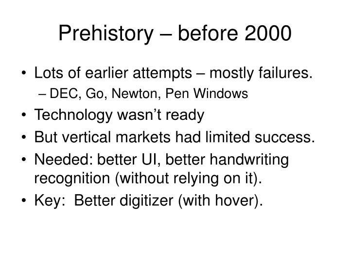 Prehistory before 2000