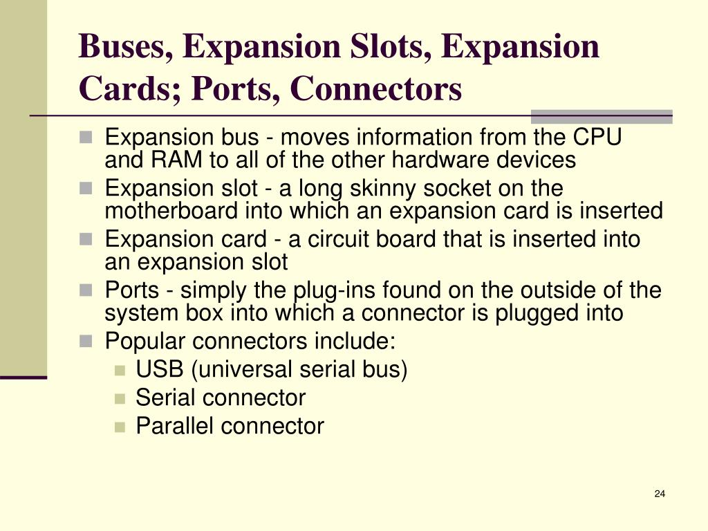 Buses, Expansion Slots, Expansion Cards; Ports, Connectors