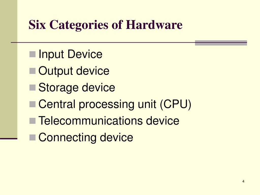 Six Categories of Hardware