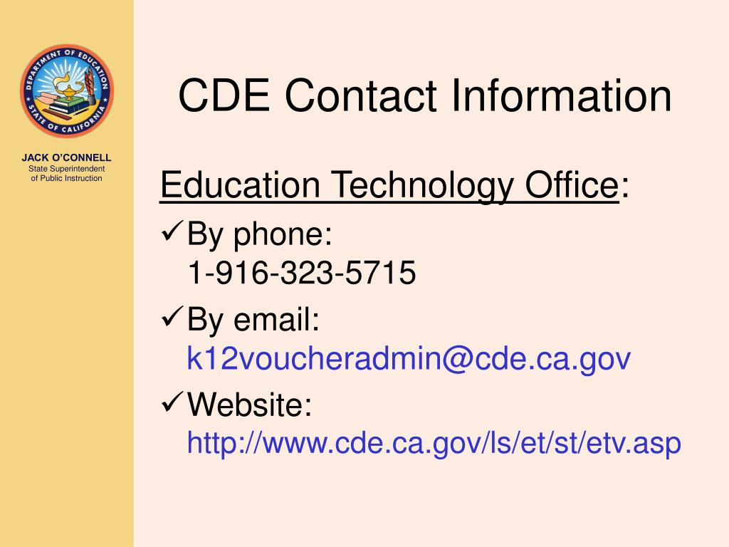 CDE Contact Information