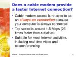 does a cable modem provide a faster internet connection42