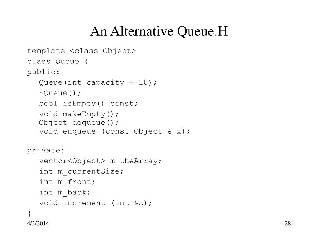 An Alternative Queue.H