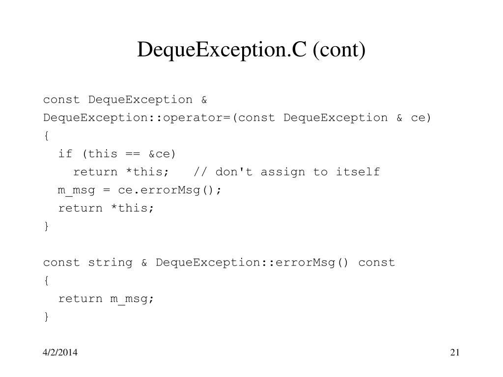 DequeException.C (cont)