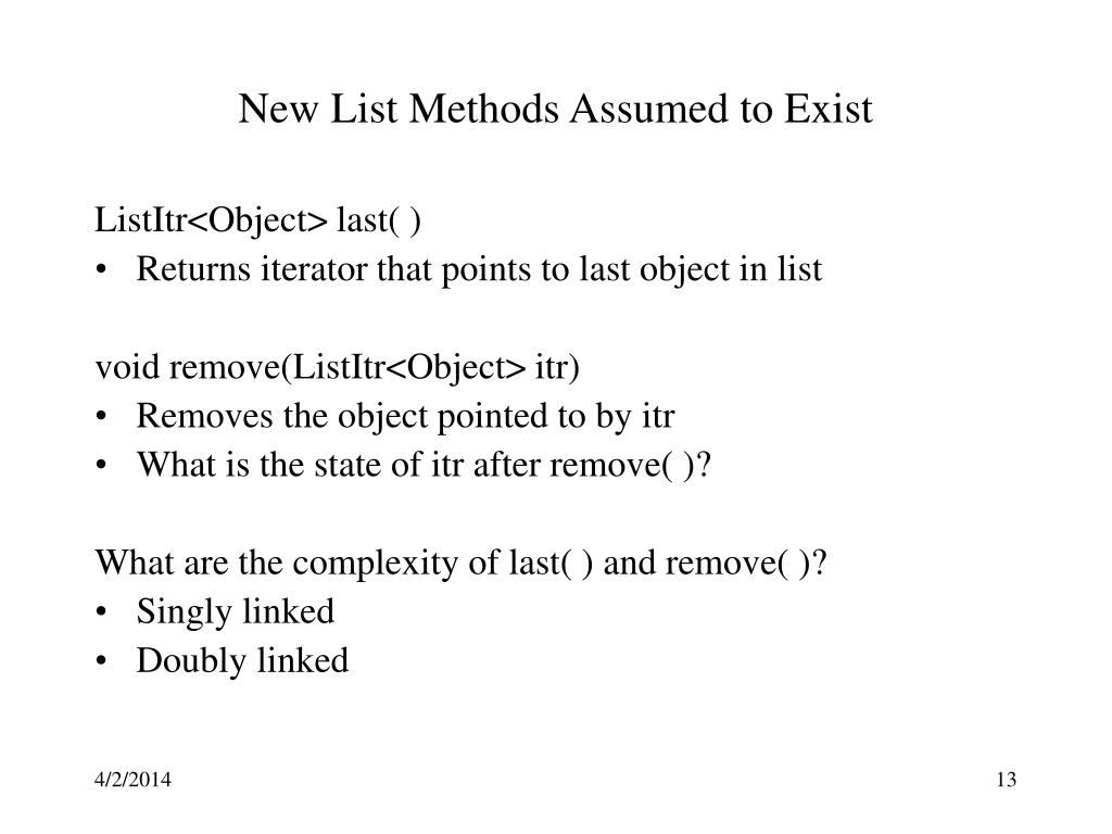 New List Methods Assumed to Exist