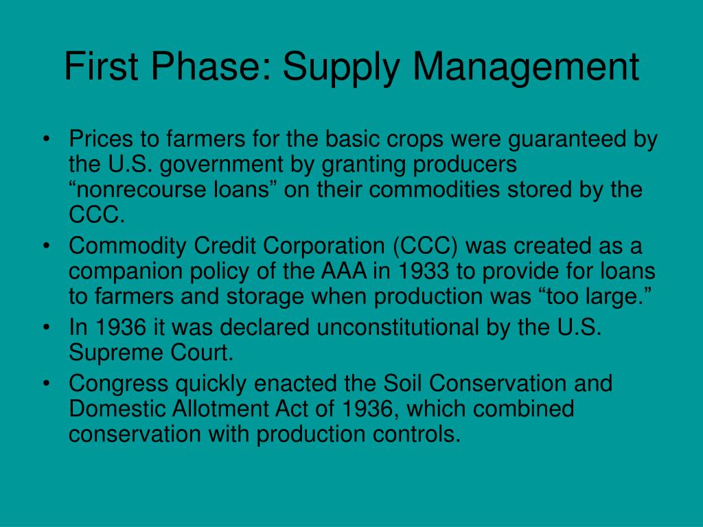 First Phase: Supply Management