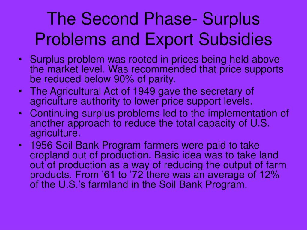 The Second Phase- Surplus Problems and Export Subsidies