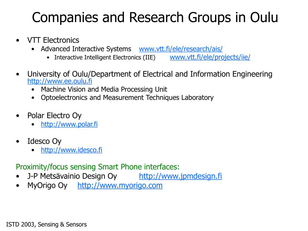Companies and Research Groups in Oulu