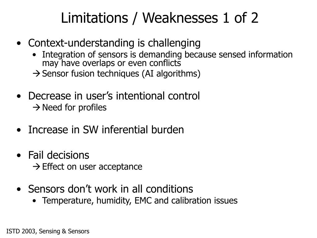 Limitations / Weaknesses 1 of 2