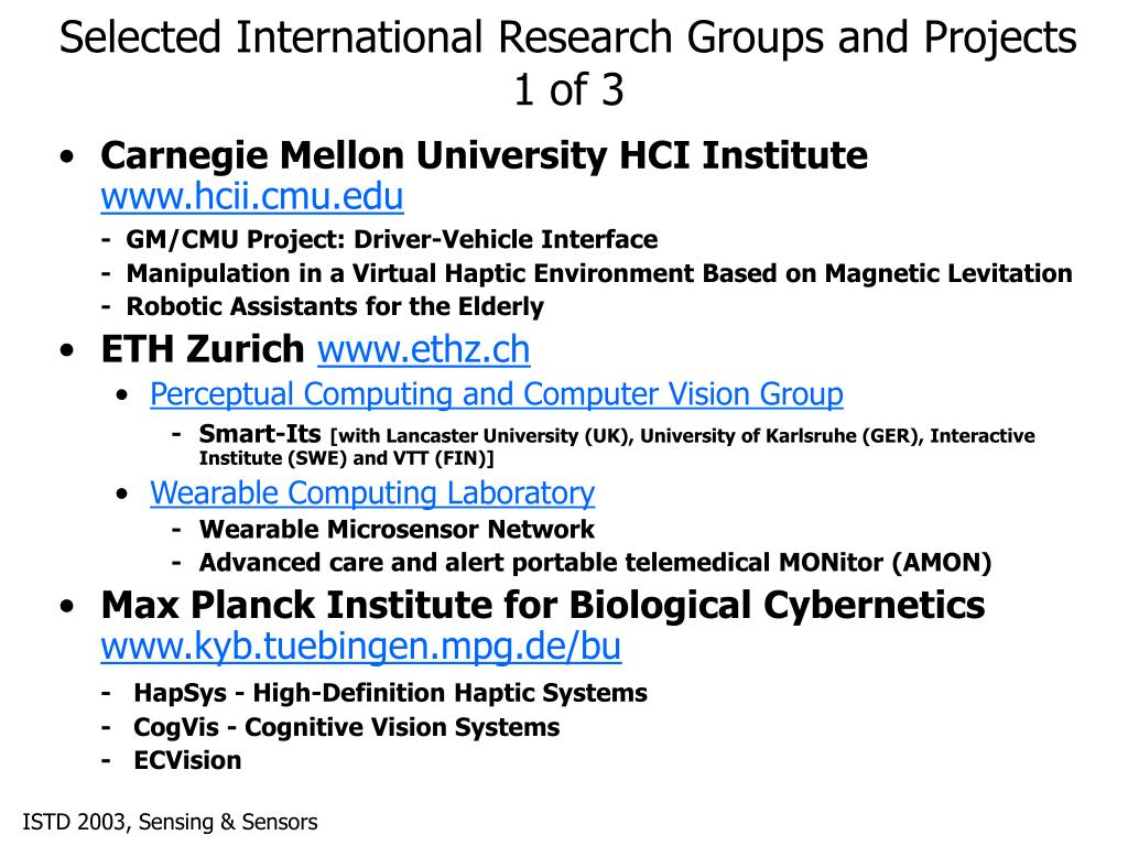 Selected International Research Groups and Projects 1 of 3