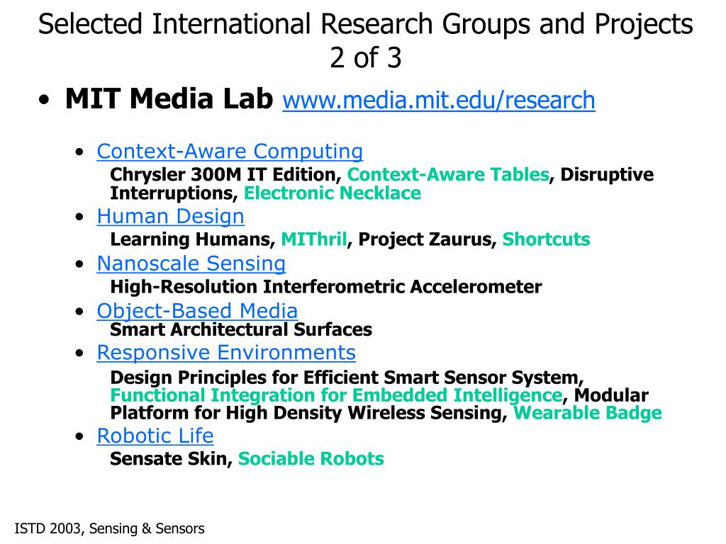 Selected International Research Groups and Projects 2 of 3