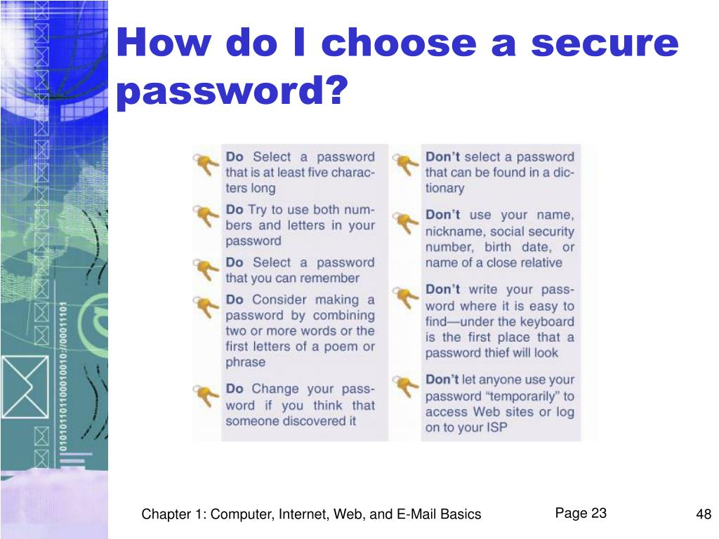 How do I choose a secure password?