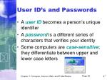 user id s and passwords