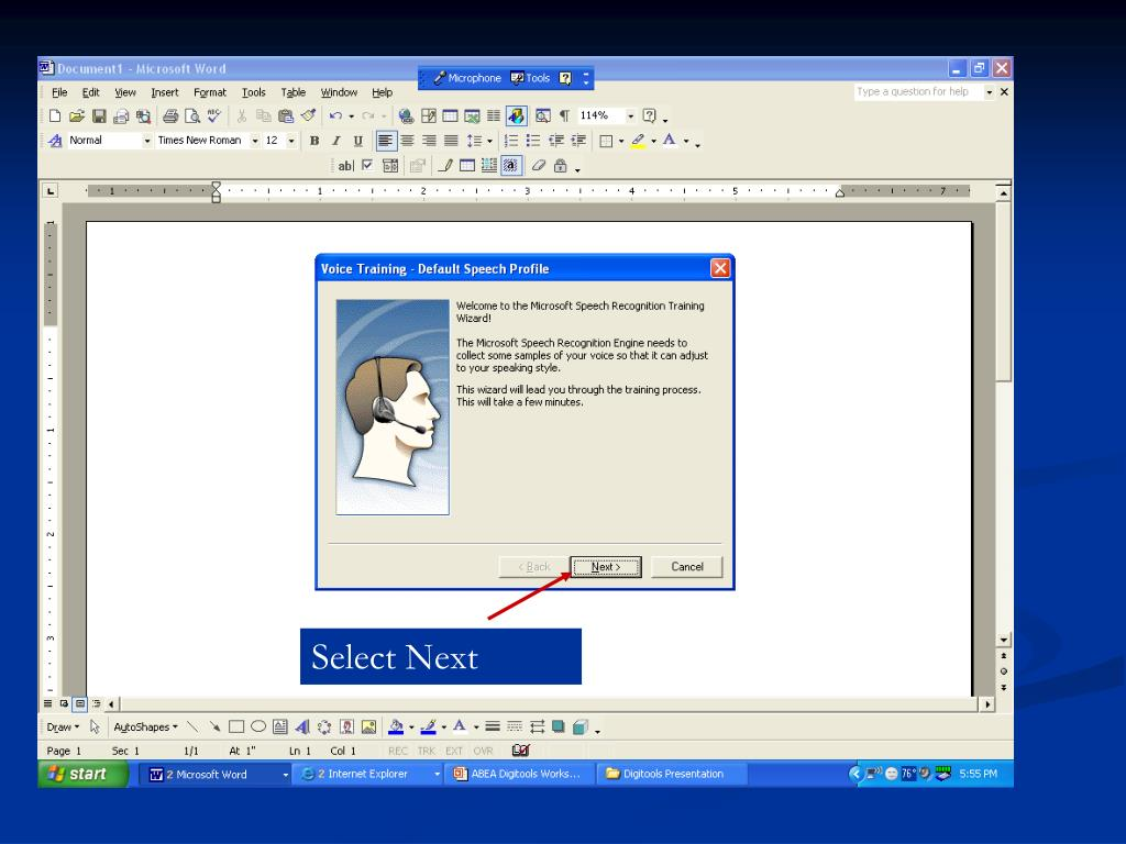 Select (Click) Tools, then Training  on the Language Bar to Minimize