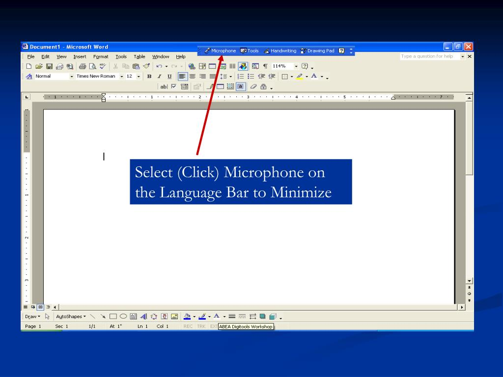 Select (Click) Microphone on the Language Bar to Minimize