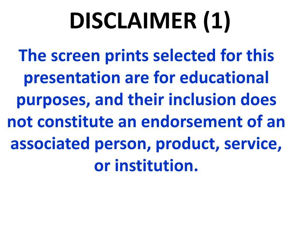 DISCLAIMER (1)