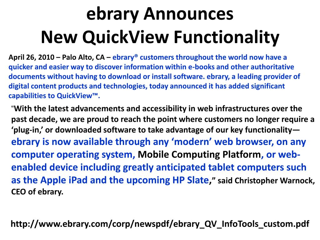 ebrary Announces