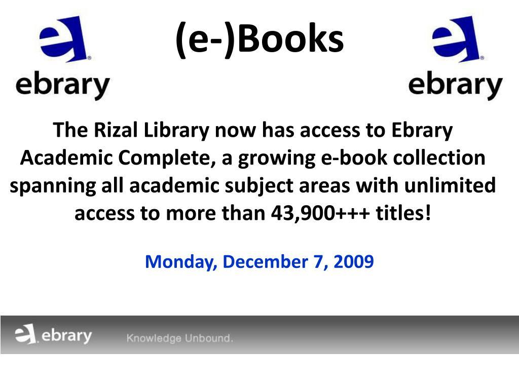 (e-)Books